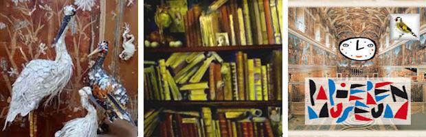 Afb Het boek Papieren museum 3 Ted van Lieshout, trompe l' oeil Bert Kinderdijk BK en afb vogels uit karton Couzijn van Leeuwen