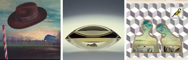 Afb. Hoed BK, Grandioos Glas Pavol Hlôška, Box, 2003 en This is Surrealism, Salvador Dali Couple aus tetes pleines de nuages 1936