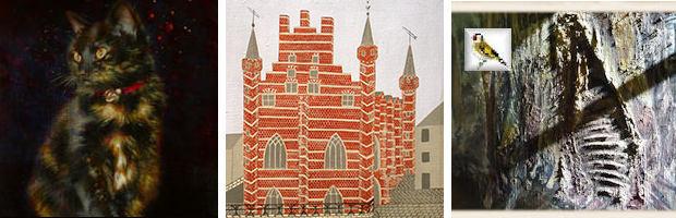 Details uit schilderij Bert Kinderdijk Poesje schilderij Vleeshuis Stephanie De Wilde BK Slachtschilderij