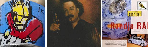 Puttertje afb Ik zelfportret Herman Brood merchandise, zelfportret Bert Kinderdijk BK en afb uit Autovisie februari 1999