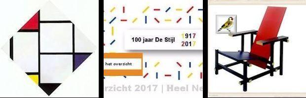 afb Mondriaan ruit met blauw geel rood en Rietveldstoel Van Modriaan tot Dutch Design