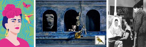 afb lu901 luminous Mexican Artist Postkarte DIN A5 Schilderij Bert Kinderdijk Foto Bernard Silberstein Frida Paints Self-Portrait while Diego Watches
